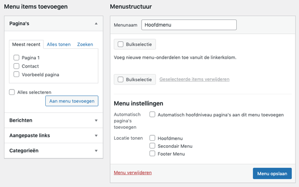 aanpassen wordpress menu