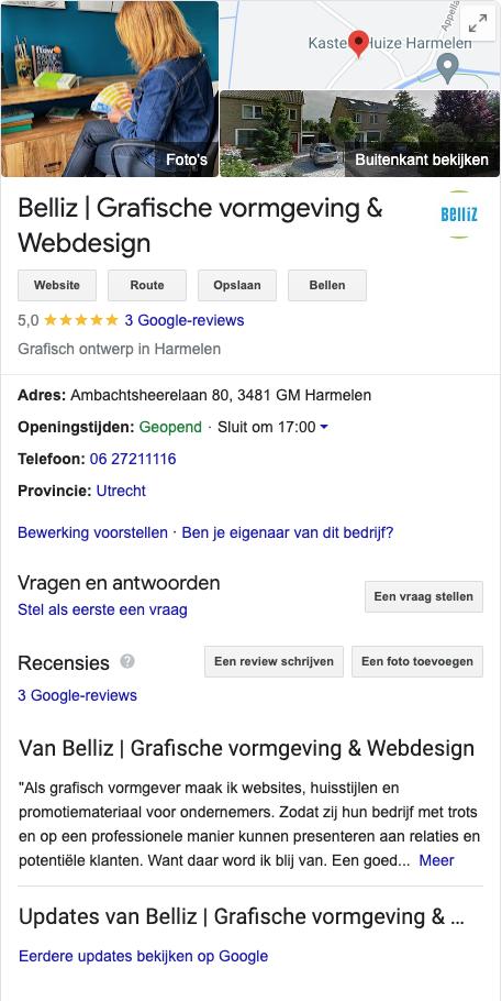 belliz google mijn bedrijf